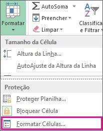 na guia página inicial, botão formatar e botão formatar células no menu