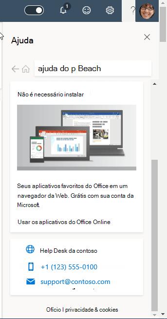 Captura de tela mostrando informações de suporte às organizações
