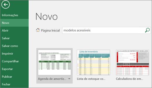 Recorte de tela da interface de usuário do Excel, mostrando a caixa de pesquisa preenchida com o termo modelos acessíveis e os resultados de modelos acessíveis.