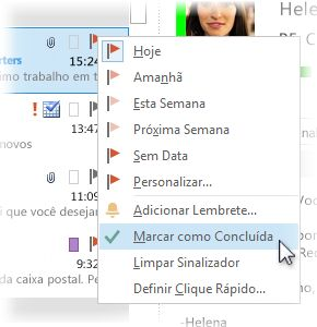 Comando Marcar como Concluída no menu de atalho na lista de mensagens
