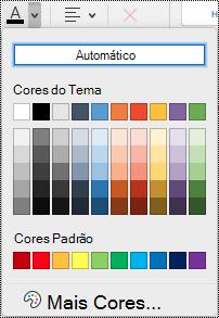 Menu suspenso da cor da fonte no OneNote para Mac.