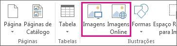 Captura de tela das opções Inserir Imagens no menu Inserir no Publisher.