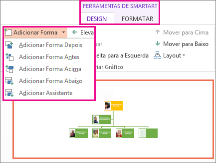 Opções de Adicionar Formas encontradas na guia Design de Ferramentas de SmartArt