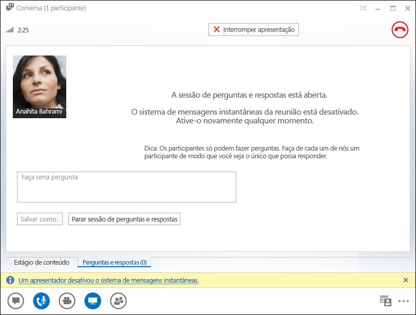 Captura de tela da janela do Gerenciador de Perguntas e Respostas