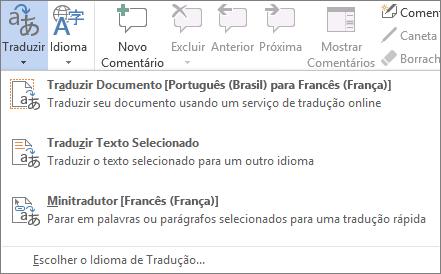Tradução de um documento ou mensagem