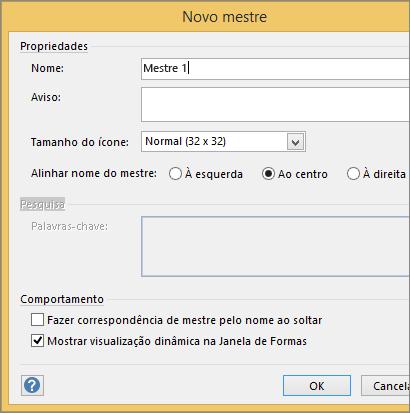 Na caixa de diálogo Novo Mestre, digite um nome e defina outros parâmetros.
