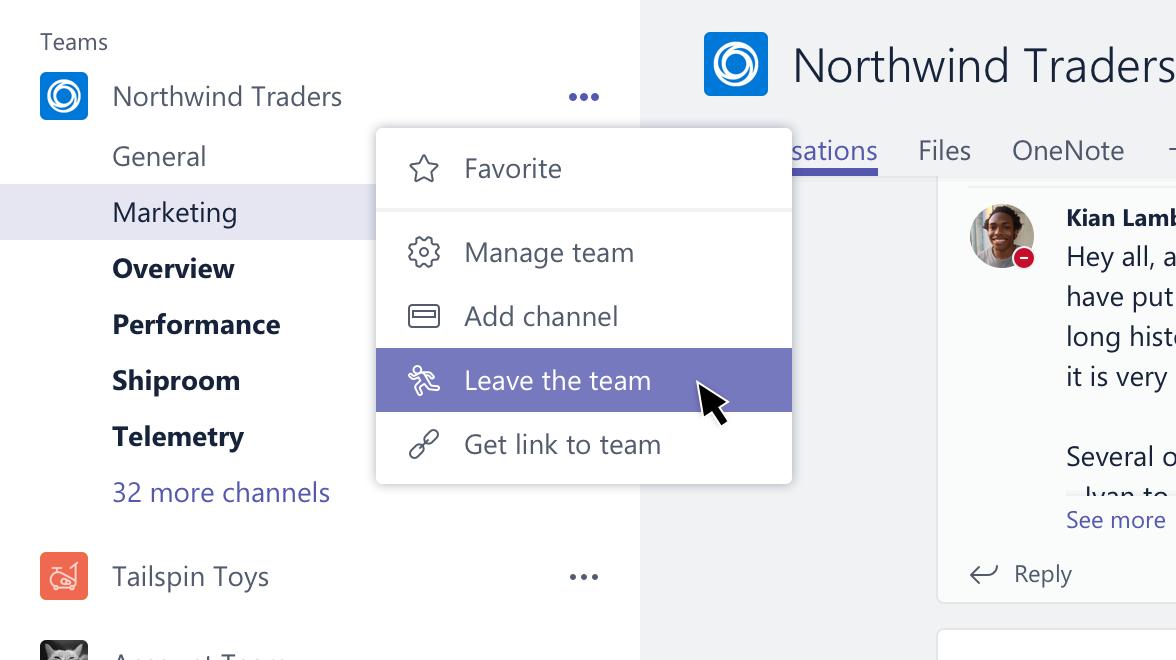 Esta captura de tela mostra a opção para sair de uma equipe.