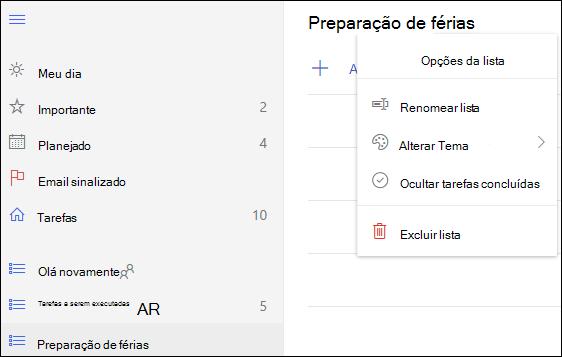 Mais opções da lista