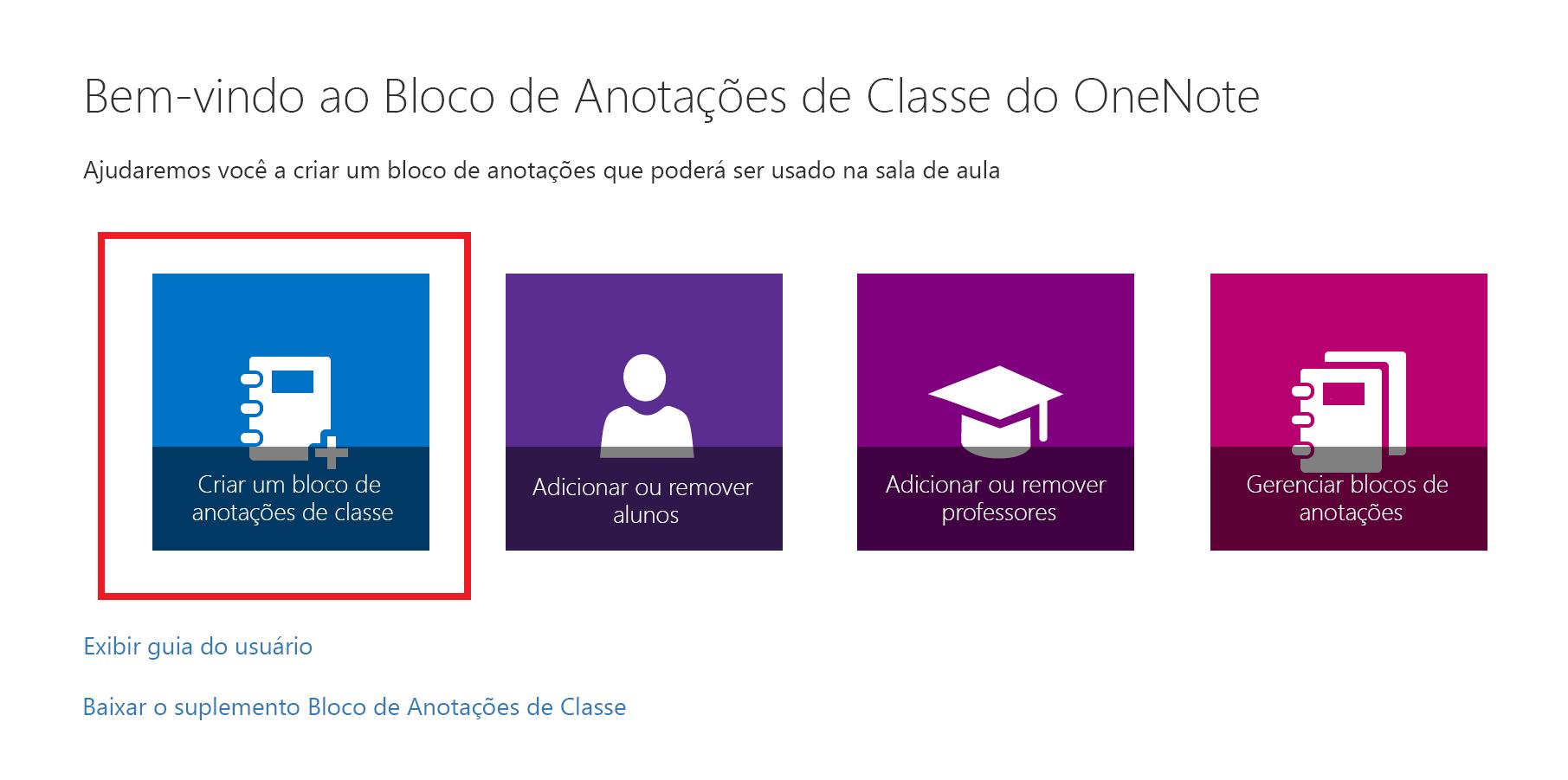 Captura de tela da Página Inicial do aplicativo Bloco de Anotações de Classe.