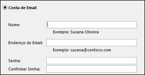 Inserir seu endereço de email e senha do Exchange