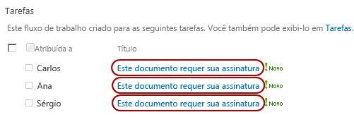 Identificar texto em título de tarefa na página Status do Fluxo de Trabalho