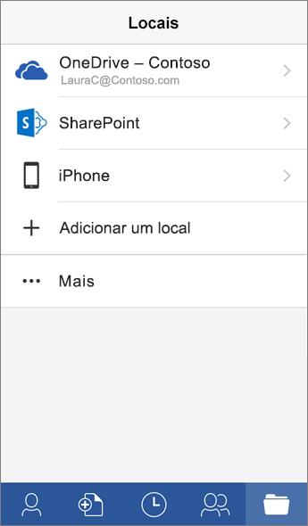 Captura da tela Locais no aplicativo Word para dispositivos móveis.