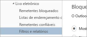 Uma captura de tela dos Filtros e relatórios no menu Opções