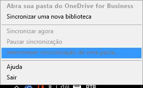 Captura de tela do comando Interromper a sincronização de uma pasta ao clicar com o botão direito do mouse no cliente de sincronização do OneDrive for Business