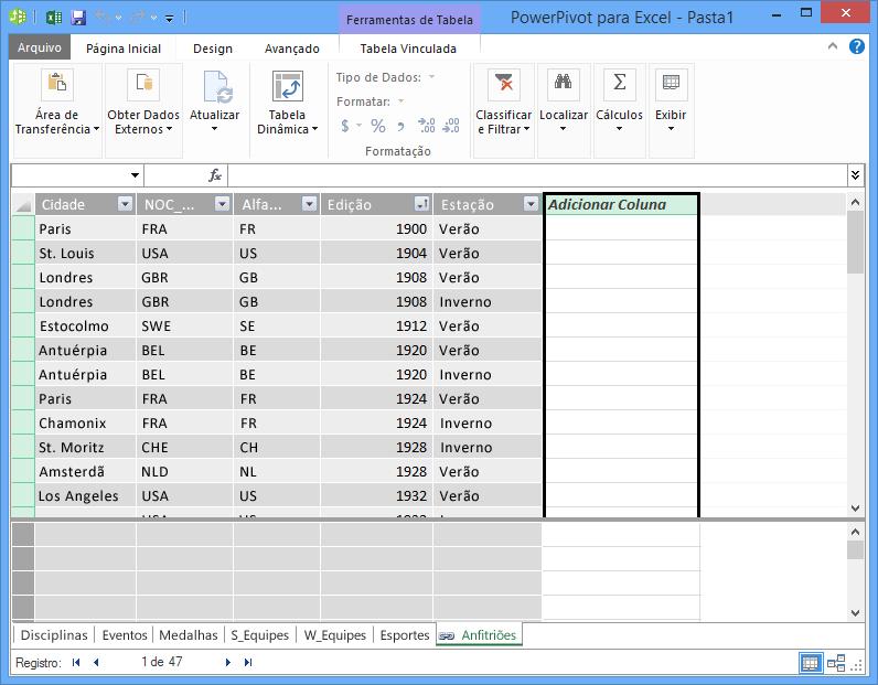 Use Adicionar Coluna para criar um campo calculado usando DAX