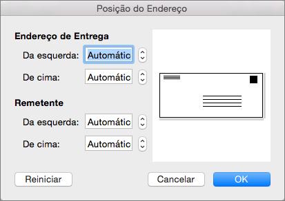 Na Posição do Endereço, altere a distância dos endereços de entrega e do remetente na borda do envelope.