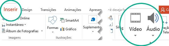 Na guia Inserir da faixa de opções da barra de ferramentas do PowerPoint, escolha Áudio ou Vídeo