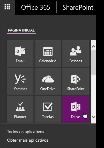 Captura de tela do painel de aplicativo do Office 365 com o bloco do Delve ativo.