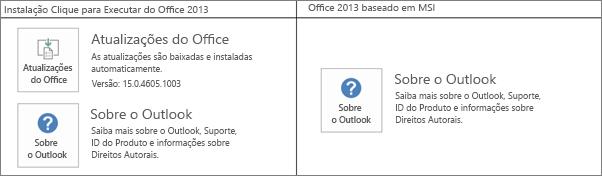"""Gráfico que mostra como saber se a instalação do Office 2013 é do tipo """"clique para executar"""" ou baseada em MSI"""