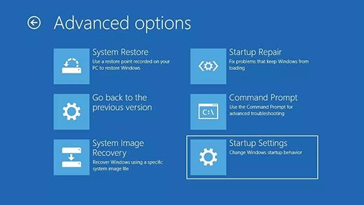 Tela de opções avançadas no Ambiente de Recuperação do Windows.