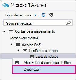 Clique com o botão direito em inclusão e clique em Desconectar para desconectar da sua área de armazenamento do Azure