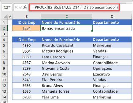 """Exemplo da função PROCX usada para retornar um nome e departamento de um funcionário com base na ID do funcionário com o argumento if_not_found. A fórmula é =PROCX(B2;B5:B14;C5:D14;0;1;""""Funcionário não encontrado"""")"""