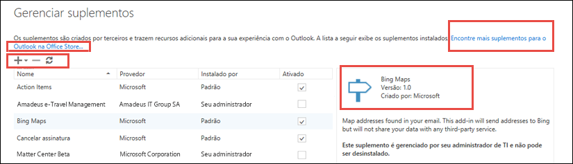 Gerenciar suplementos no Outlook.com