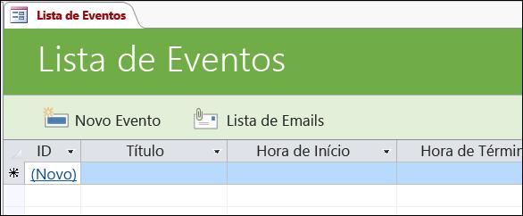 Formulário de lista de eventos no modelo de banco de dados Eventos do Access