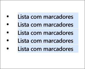 Exemplo de lista com marcadores com círculos pretos redondos usados como marcadores.