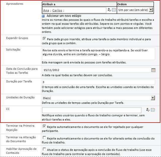 Formulário para inserir informações específicas à execução