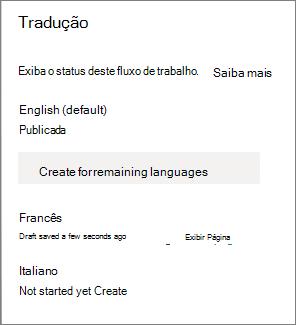 Status da tradução
