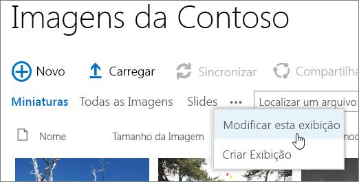 Barra do modo de exibição biblioteca de imagens com o modo de exibição modificar selecionado