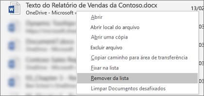 O menu de contexto que você vê ao clicar com o botão direito do mouse em um arquivo na lista Arquivos Recentes