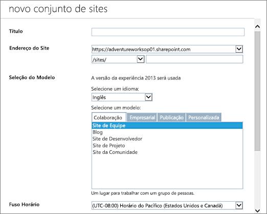 Caixa de diálogo Novo Conjunto de Sites (metade superior)