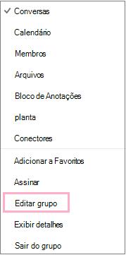 Contexto de calendário de grupo ou atalho, menu realçando a opção Editar grupo. O menu aparece quando o botão Mais ações está selecionado na barra do menu de grupo individual.