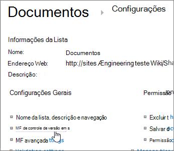 Diálogo de configurações de biblioteca com controle de versão selecionada.