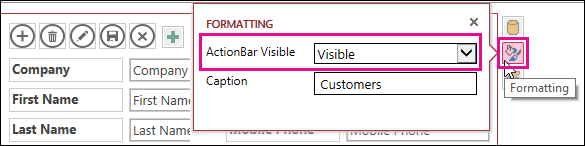 Propriedade Barra de Ações Visível no menu Formatação