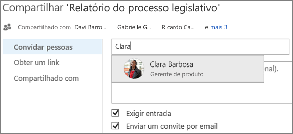 Captura de tela de um compartilhamento de arquivo no OneDrive for Business