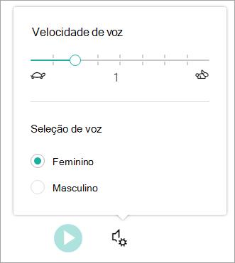 Velocidade e sexo de voz de leitura avançada