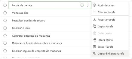 Caixa de diálogo de listagem de tarefas. O botão Copiar link para tarefa está realçado.