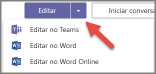 Botão Editar com as opções expandido e uma seta apontando para o botão suspenso