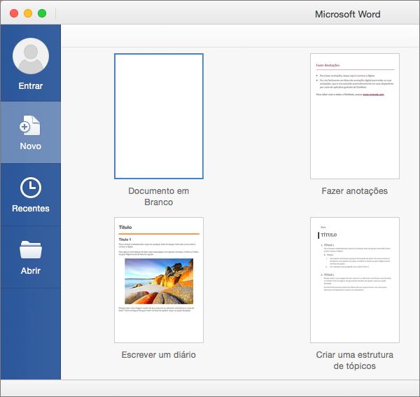 Clique duas vezes em um modelo para criar um novo documento com base nele.