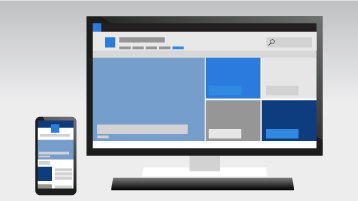 Um telefone e um computador mostrando um site de comunicação do SharePoint Online
