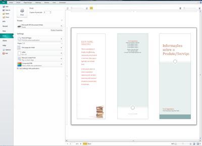 Visão geral das configurações de impressão do Publisher