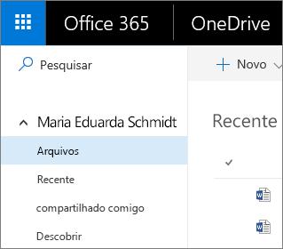 Captura de tela do modo de exibição Arquivos no OneDrive for Business