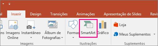 Mostra o botão SmartArt na guia Inserir