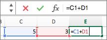 Insira uma fórmula em uma célula e ela também será exibida na barra de fórmulas