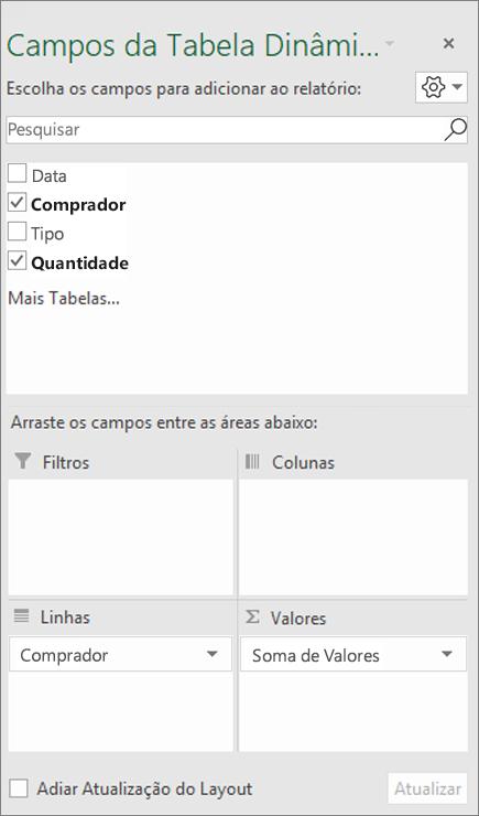 Lista de Campos mostrando uma seção de campo e uma seção de áreas