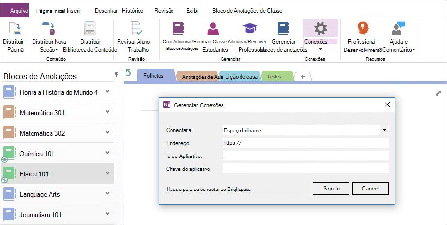Caixa de diálogo de captura de tela de conexões do suplemento de anotações de classe do OneNote com a política de grupo não configurado.