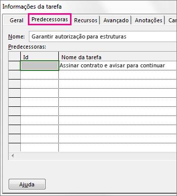 A caixa Informações da Tarefa mostrando a guia Predecessoras.